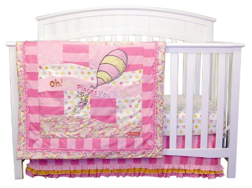 Pink Set Trend Lab Crib - Trend Lab Dr. Seuss Oh The Places You'll Go 3 Piece Crib Bedding Set, Pink