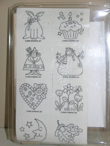 Stampin' Up Just For Fun 2000 Rubber Stamp Set - 8 Stamps