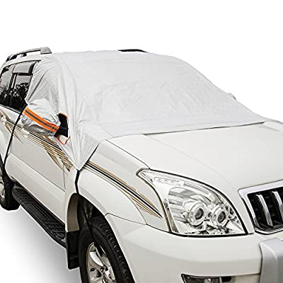 MARKSIGN Windshield Snow Cover, Frost Protector for Cars, Compact and Mid-Size SUVs, 4-Layer Ultra Durable and UV Reflective Fabric, Covers Whole Windshield, Front Windows and Rear Mirrors