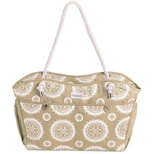 fivesse-large-20-waterproof-beach-bag-and-tote-with-8-pockets-tan-sun-pattern-and-waterproof-zipper