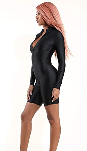 c873f1d6d91a SOHO GLAM Long Sleeve Nylon Zip-Up Romper - Black at Amazon Women s  Clothing store