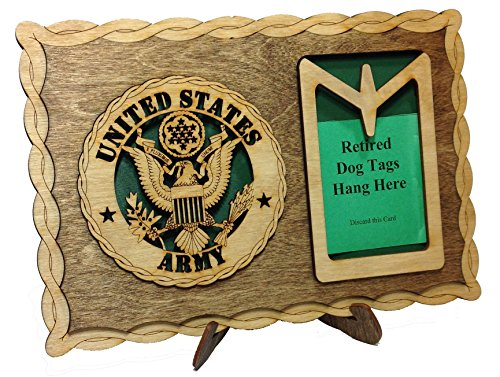 Armed Forces Army Custom Laser Crafted Three Dimensional Wooden Dog Tag Holder Plaque