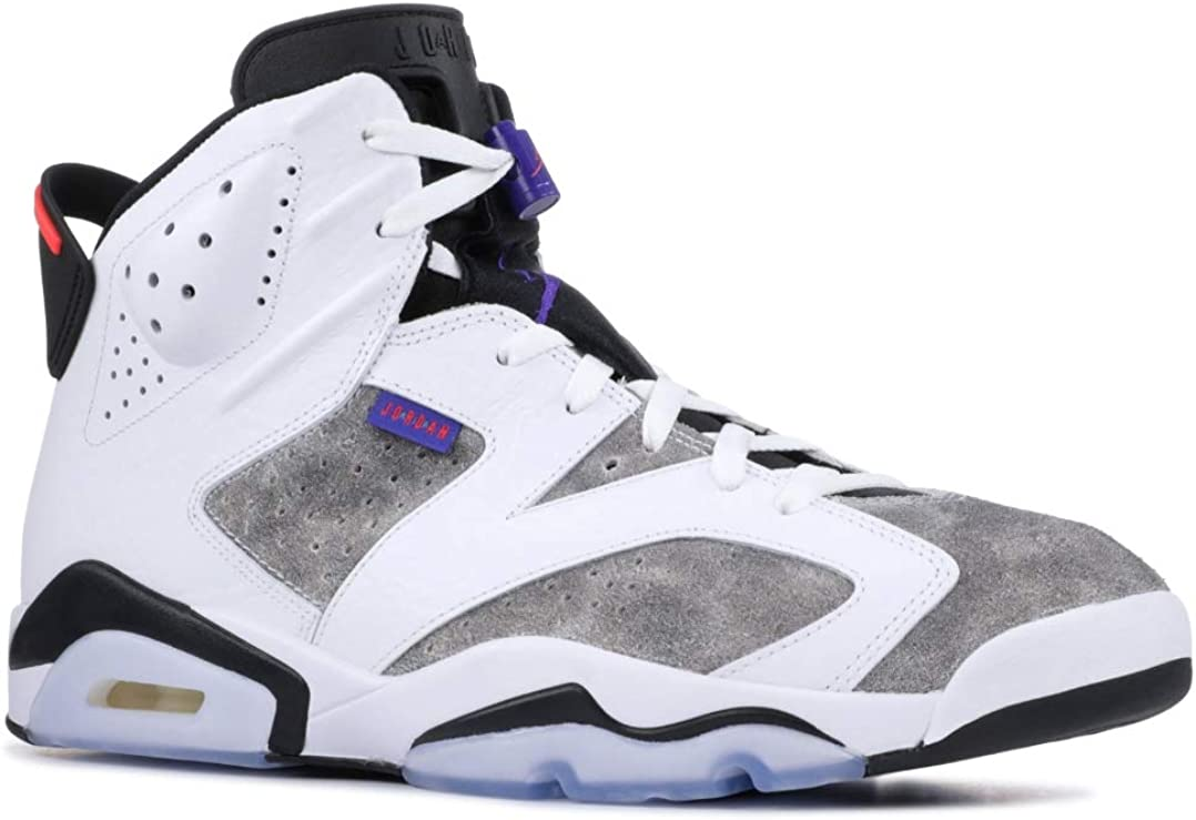 Nike Mens Air Jordan 6 Retro Leather Basketball Shoes 白い/Dark Concord/黒/Infra赤 23 CI3125-100 Size 9