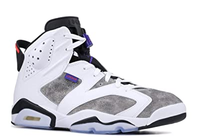 6c77d7a4726 Nike Mens Air Jordan 6 Retro Leather Basketball Shoes White/Dark Concord/ Black/