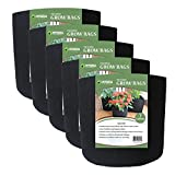 Grow Bags Fabric Planter Raised Bed Aeration Container 5 Pack Black (7 Gallon)