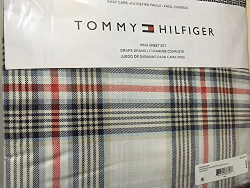 Amazon.com: Tommy Hilfiger 035078TH004 Evening Plaid Sheet Set, White, King: Home & Kitchen