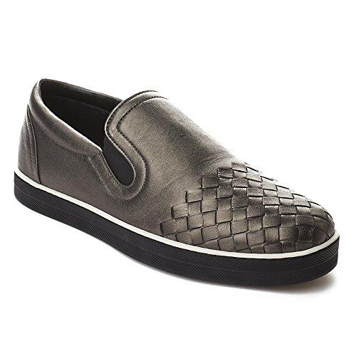 Bottega Veneta Women's Intrecciato Calf Sail Slip-on Sneakers Shoes Silver
