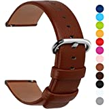 12 Colors for Quick Release Leather Watch Band, Fullmosa Uli Genuine Leather Watch Strap 20mm Brown