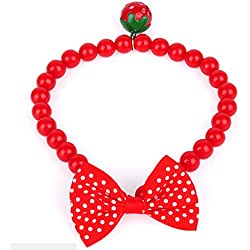Cuet Pet Bow Necklace Dog Collar Cat Jewelry with Pearls (Red)