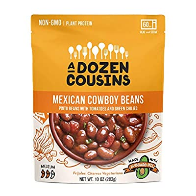 A Dozen Cousins Ready to Eat Beans Variety Pack, Cuban Black Beans, Mexican Pinto Cowboy Beans, Trini Chickpea Curry, Non-GMO, Vegan, Made with Avocado Oil, 3 Pack