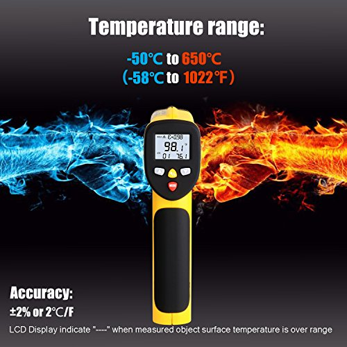 Dual Laser Infrared Thermometer, Zenic Professional Non-Contact Digital Temperature Measuring Gun with Adjustable Emissivity for Cooking / Brewing / Automobile & Industries, -50-650℃, D:S=12:1 by zenic (Image #3)
