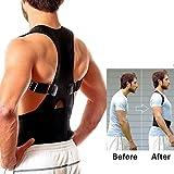 Aptoco Adjustable Back Shoulder Support Brace for Posture Correction, Magnetic Therapy Upper Back Lumbar Support Size M