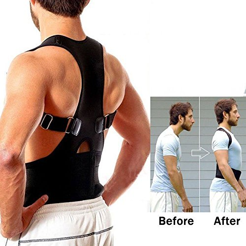 Aptoco Adjustable Back Shoulder Support Brace for Posture Correction, Magnetic Therapy Upper Back Lumbar Support Size M by Aptoco