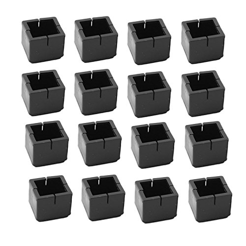 Antrader 16pcs Black Silicone Furniture Pads Square Shape Floor Protector Chair Sofa Non-Slip Feet Pad Leg Cap with Felt Pads Fit 1-1/8 to 1-3/8 (3.1-3.6cm)