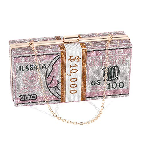 Women Dollar Evening Bags Shiny Rhinestone Clutch Money Purses Fashion Shoulder Bag Handbag Wedding Party Dinner Bag…