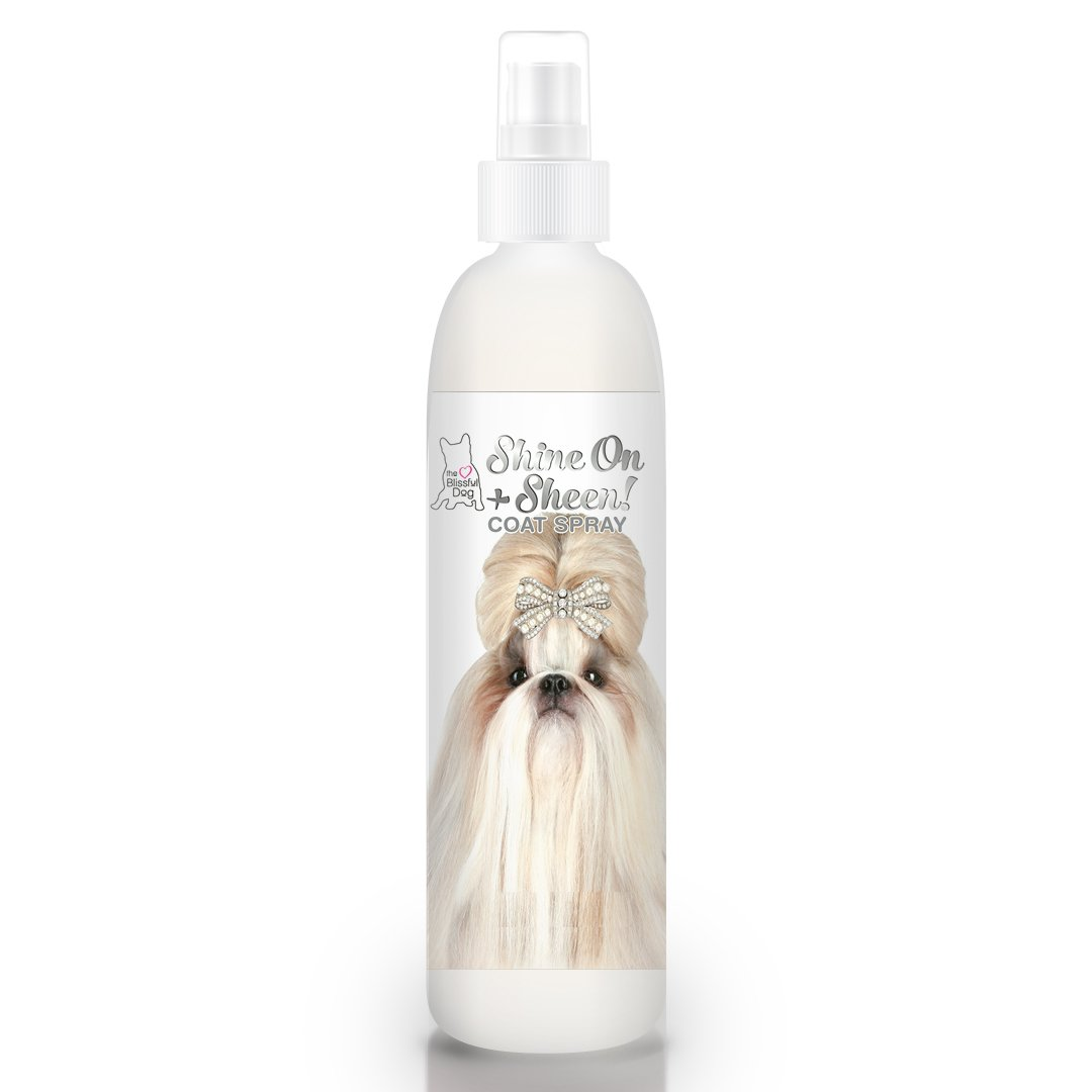 The Blissful Dog Shine-On + Sheen Coat Spray, All Natural Leave In Conditioner and Detangler for Your Dog, 4-Ounce