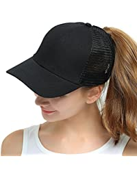 ec6a057ed21 Womens Ponytail Messy High Buns Mesh Trucker Ponycaps Plain Baseball Cap  Dad Hat Adjustable Size