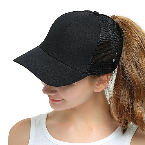 Womens Ponytail Messy High Buns Trucker Ponycaps Plain Baseball Visor Cap Dad Hat Adjustable Snapback ()