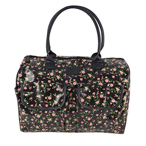 Kangol Ditsy Flower Vinyl Reisetasche Schwarz/Pink Damen Reisetasche Duffle Bag