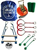 Liv & Jane Co. Ninja Training Line Obstacle Course - 46' Set for Backyard Warrior Fun and Fitness - 8 Handles For Variety With Tree Protectors Included (Blue, Long)