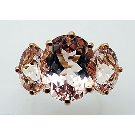14K Rose Gold Genuine Natural Morganite Ring 3136