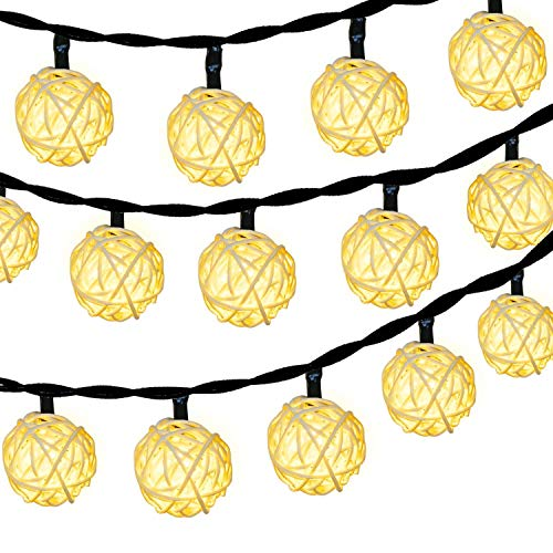 HOPET Globe Rattan Ball String Lights, 20 LED USB Powered Starry Fairy Strand Lights for Christmas Tree Decoration Indoor Bedroom Patio Lawn Home, Party (10 Feet, Warm White)