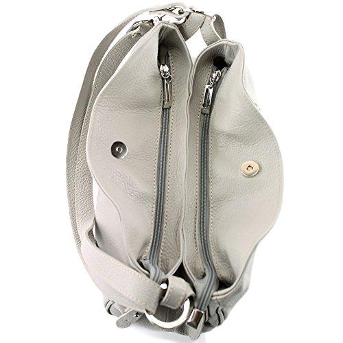 ModaModa de-Ital. T119 Bolso bandolera de piel para mujer, de hombro, bolso de piel gris claro