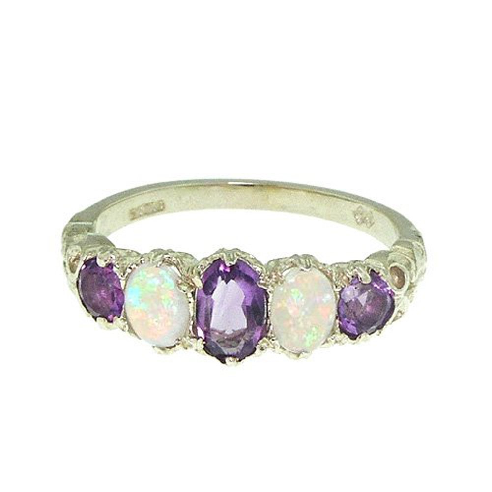 LetsBuyGold 10k White Gold Real Genuine Amethyst and Opal Womens Band Ring - Size 7