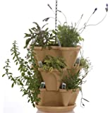 Tuscany Color 3-Tier Stacking Planter - Vertical Gardening for Herbs, Vegetables, Flowers - Patented Grid System - Best Self Watering Planter - BPA Free