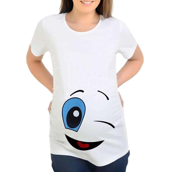 ropa para mujeres embarazadas BBsmileEstampado de dibujos animados embarazadas casual enfermería blusa bebé para maternidad camiseta