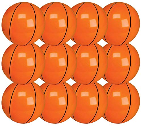 Kicko 16 Inch Inflatable Basketball - Set of 12 Orange Floating Balls for Kids and Adults Summer Entertainment, Water Games and Outdoor Activities, Swim Toys, Pool Accessories and Party Favors