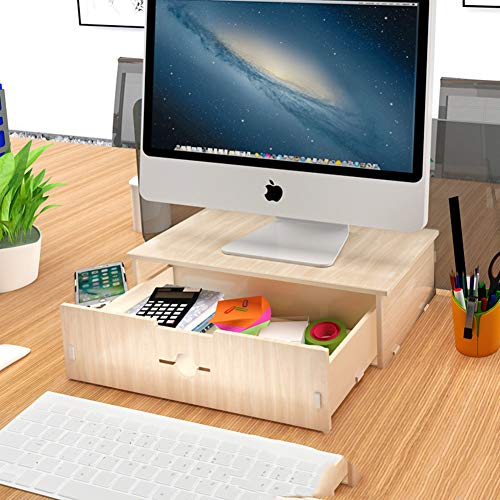 GCX&LV Madera Organizador Monitor para Escritorio,Ordenador portátil Monitor de la computadora Soporte Vertical Madera...