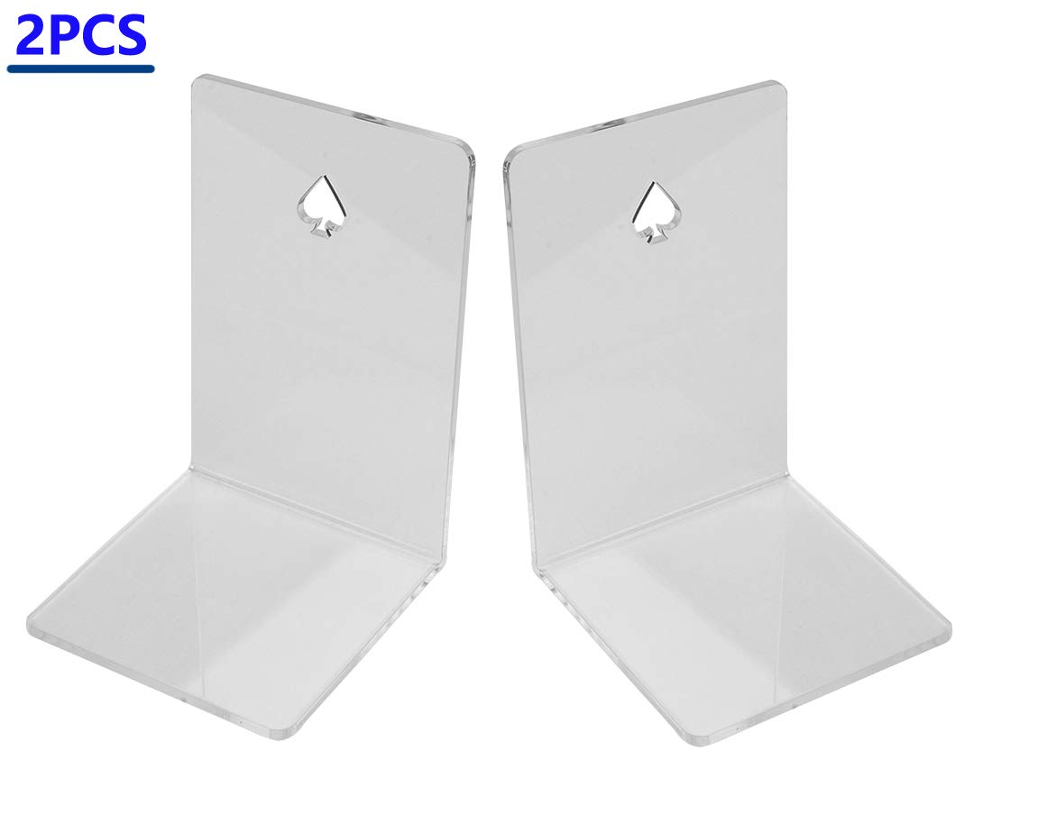 WeiMo Non-Slip Acrylic Bookends,1 Pair Clear Design Acrylic Bookends for Bookshelf Decorative Using (Acrylic)