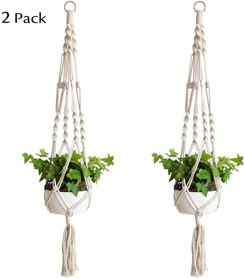 Plant Hanger, iWheat 39 Inch Macrame Plant Holder, Handmade Cotton Rope Flower Pot Plant Hanger for Indoor Outdoor Decorations 2 Pack