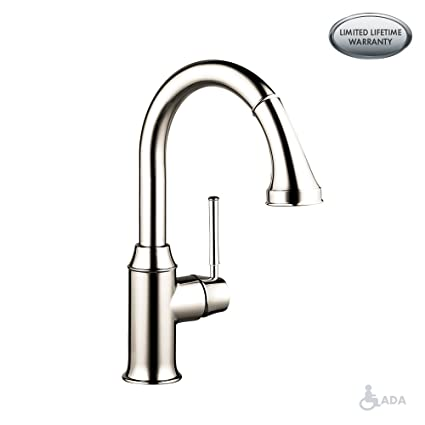 hansgrohe Talis C Premium 1-Handle 15-inch Tall Kitchen Faucet with Pull  Down Sprayer Magnetic Docking Spray Head in Polished Nickel, 04215830