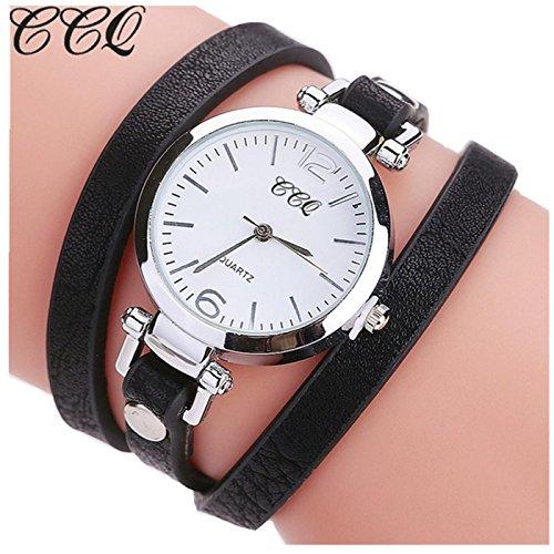 Sunward Women Girl Watches Charm Wrap Around Leatheroid Quartz Wrist Watch Girlfriend Gift (D)