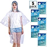 Emergency Waterproof Disposable Rain Ponchos – 60% Extra Thicker Clear 5 Pack - Lightweight Universal Design For Adults, Men & Women - Poncho Includes Hoods With Drawstrings - for Concerts, Camping