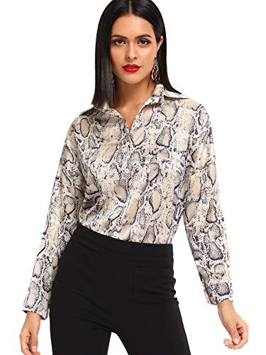 SheIn Women's Casual Long Sleeve Button Down Shirt Snake Print Blouse Top Multicolored ()