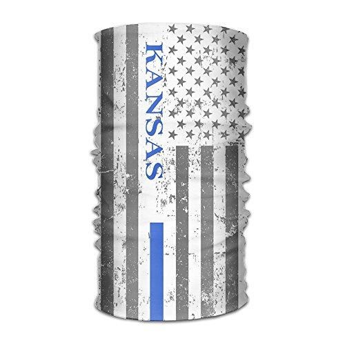 Kansas Thin Blue Line Flag Headwear Bandanas Headscarf Helmet Liner Head Wrap Scarf by WOOD-RAIN
