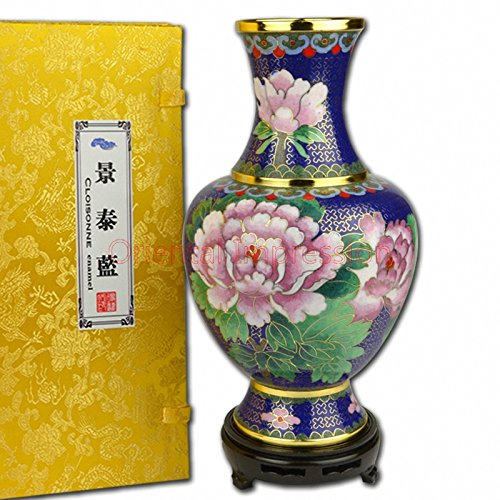 DYF 10 inches height China Cloisonne Enamel Vase - Blooming and riches - Business Gift, meeting gifts,birthday gifts, China Porcelain, Cloisonne ware,Gift Package,Collection
