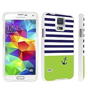 DuroCase ? Samsung Galaxy S5 Hard Case White - (Navy Stripe Anchor)