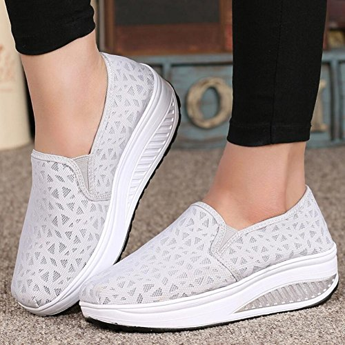 XUE Women's Shoes Mesh Spring Fall Loafers & Slip-Ons Driving Shoes Fitness Shake Shoes Shake Shoes Shaking Shoes Flat Loafers Sneakers Athletic Shoes Platform Shoes (Color : B, Size : 36) E