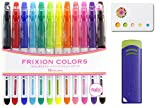 Pilot Frixion Erasable Coloring Pens 12 Pack with Sticky notes and 1 blue eraser – Multi Colored Dry Erase Markers, Comfy Grip, Retractable Clip On Cap – For Home, School, Students, Kids, Drawing