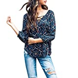 Pandaie Womens Tops, Clearance Tops for Women V-Neck Floral Print Casual Top T Shirt 3/4 Sleeve Top Blouse