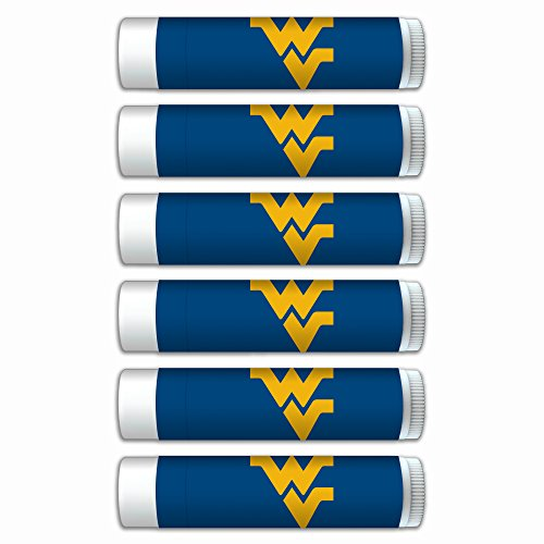 NCAA West Virginia Mountaineers Premium Lip Balm 6-Pack Featuring SPF 15, Beeswax, Coconut Oil, Aloe Vera, Vitamin E. NCAA Gifts for Men and Women, Mother's Day, Fathers Day, Easter, Stocking Stuffers