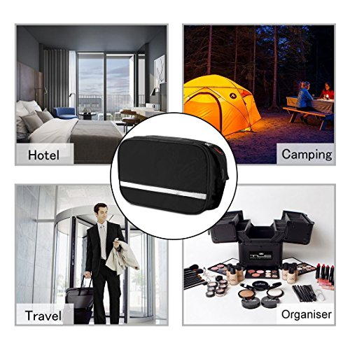 Casmas Travel Toiletry Bag Travel Accessories Bag Cosmetic Organizers with Hanging Hook Use in Bathroom or Hotel (Black) by Casmas (Image #5)