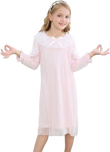 Flwydran camisón Vintage para niñas,Camisones para Niñas Malla Algodón Ropa de con Bordado 3-12 años: Amazon.es: Ropa y accesorios