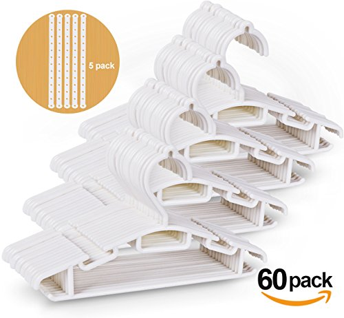60 Pack Non-slip White Tubular Children's Hangers 12 Inch for Kids Baby Infant Toddler with Plastic Hanger Straps by ilauke