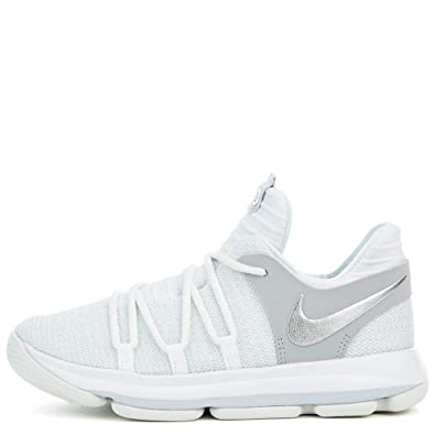 finest selection fe61b 1d3a3 NIKE Kids KD X Pre-School Basketball Shoe 2.5y white chrome pure platinum  918364 100