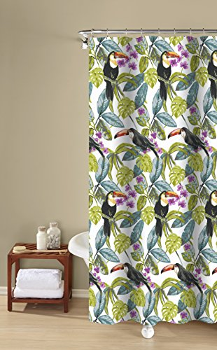 (Inspired Surroundings Tropical Toucans 100% Cotton Shower Curtain, 72